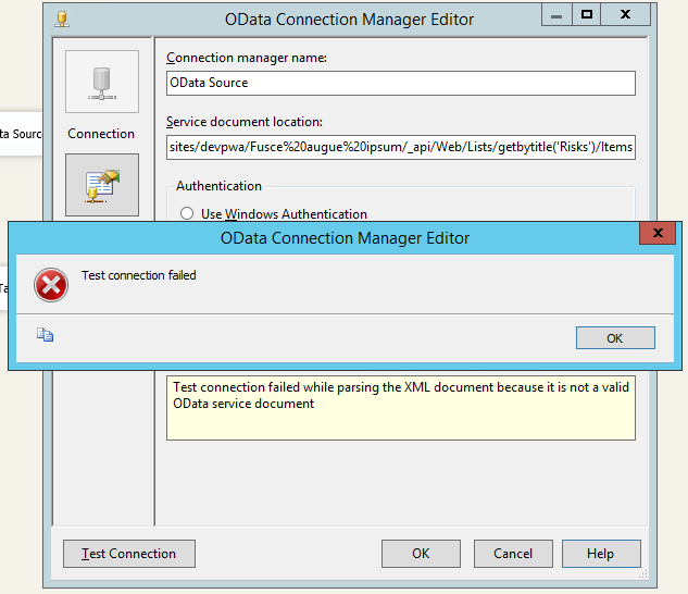 Project Site Custom List Reporting using SSIS OData